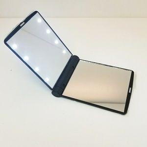 Led light travel mirror